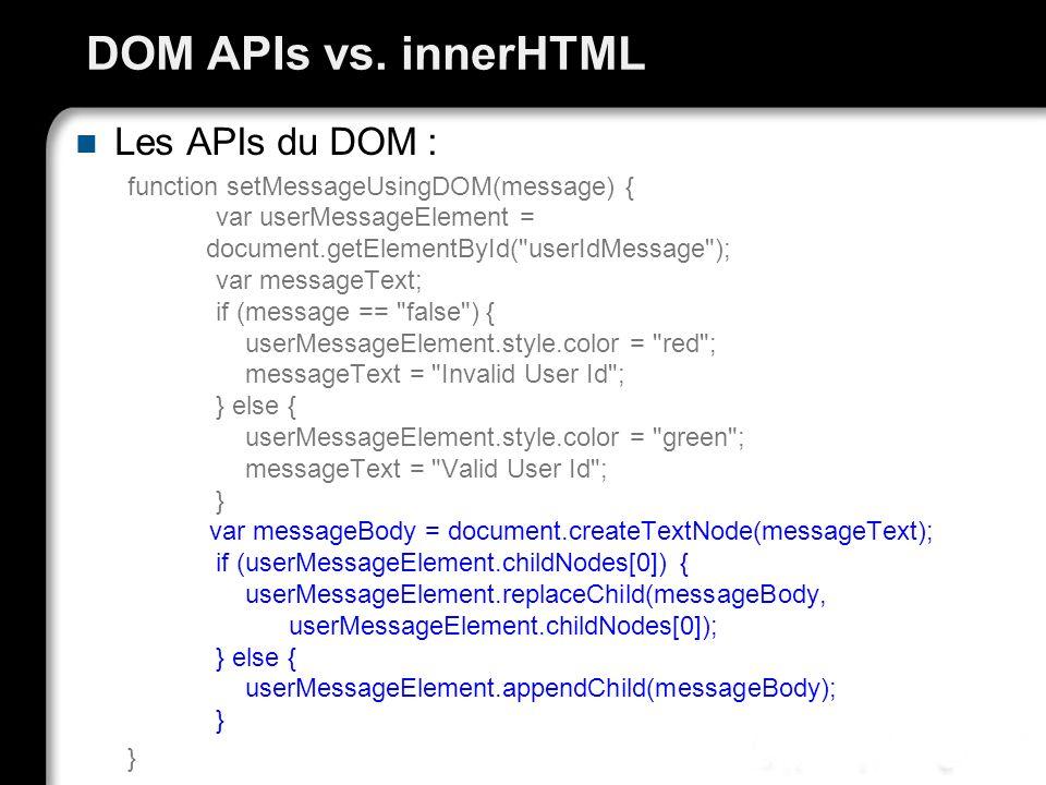 DOM APIs vs. innerHTML Les APIs du DOM :