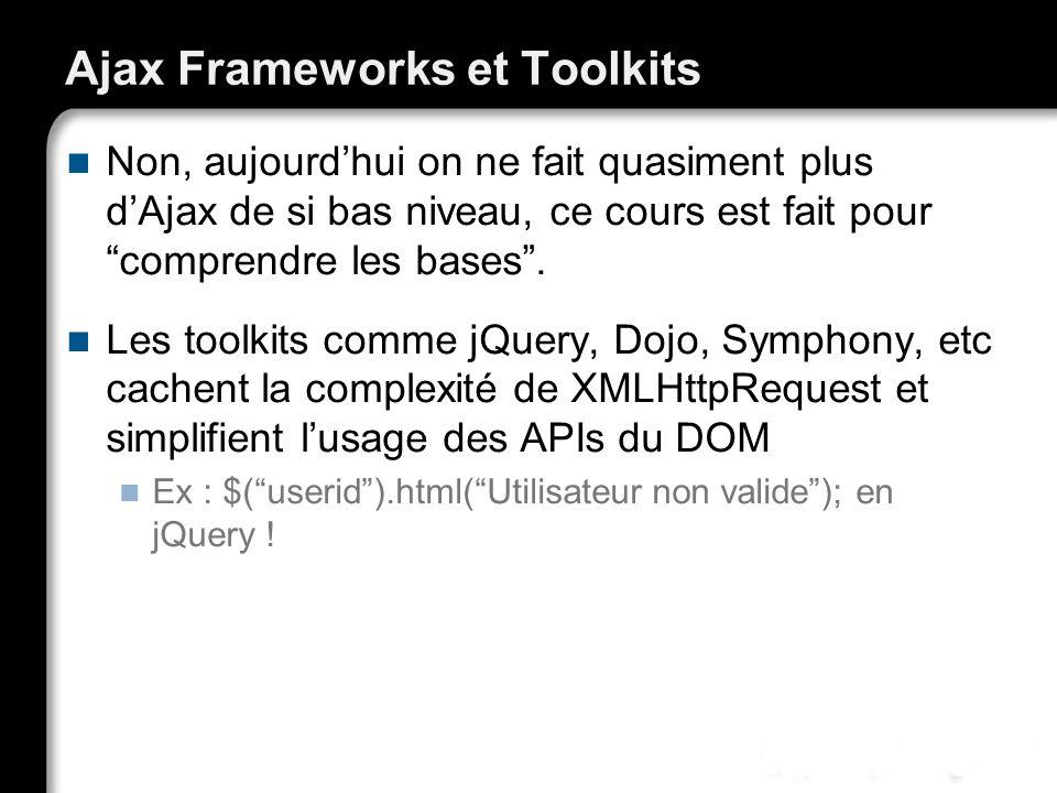 Ajax Frameworks et Toolkits