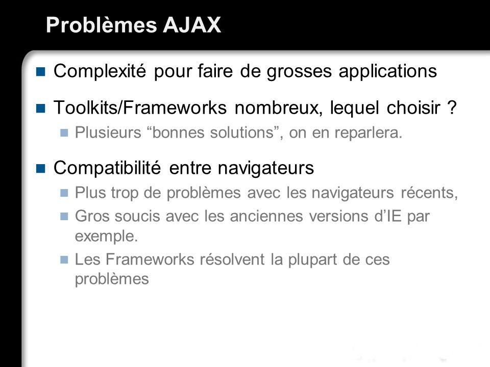 Problèmes AJAX Complexité pour faire de grosses applications