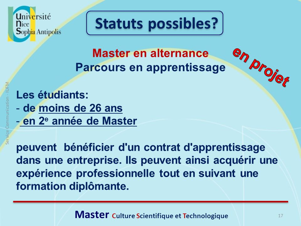 Parcours en apprentissage Master Culture Scientifique et Technologique