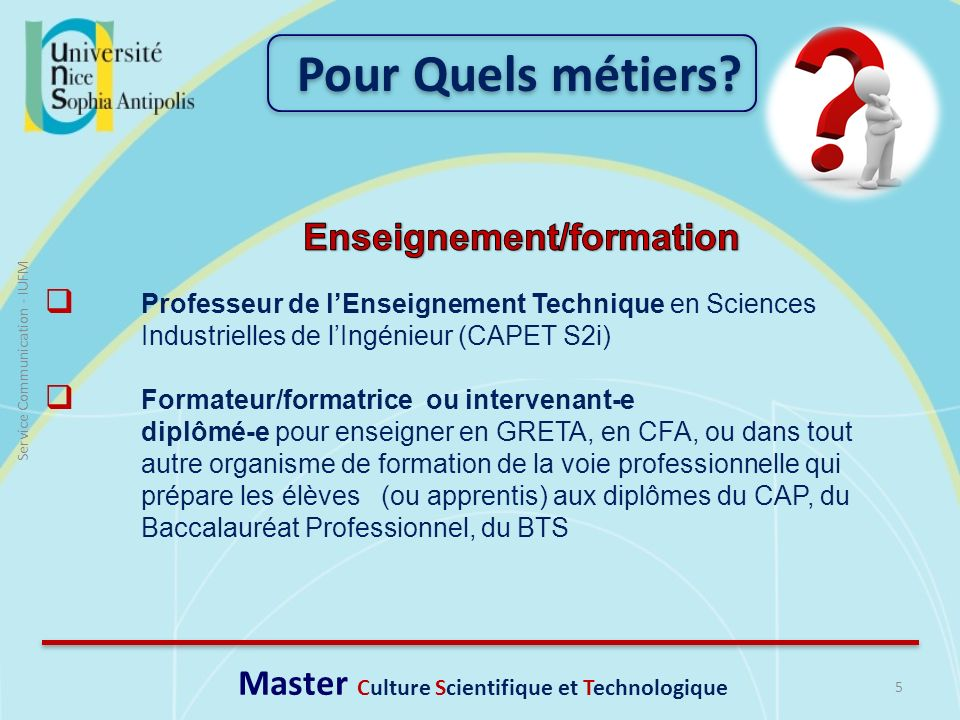 Enseignement/formation Master Culture Scientifique et Technologique