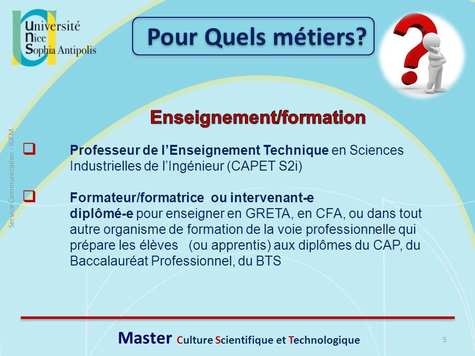 Enseignement/formation Master Culture Scientifique et Technologique