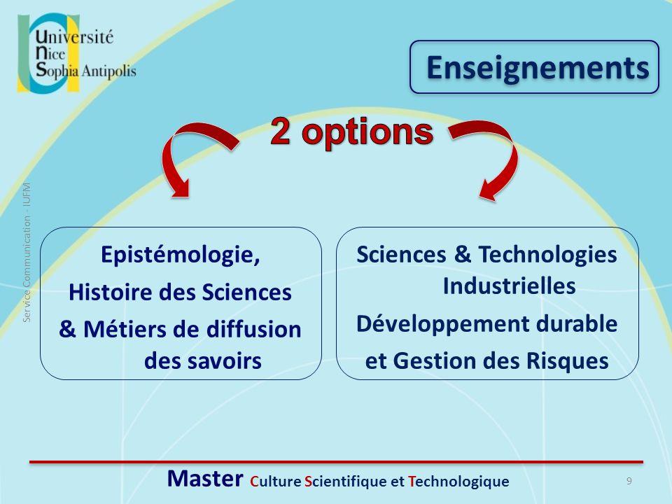 2 options Enseignements Epistémologie, Histoire des Sciences