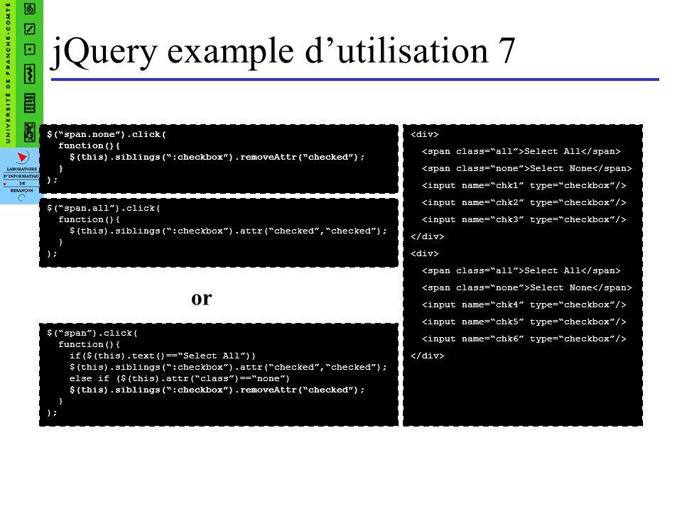 jQuery example d'utilisation 7