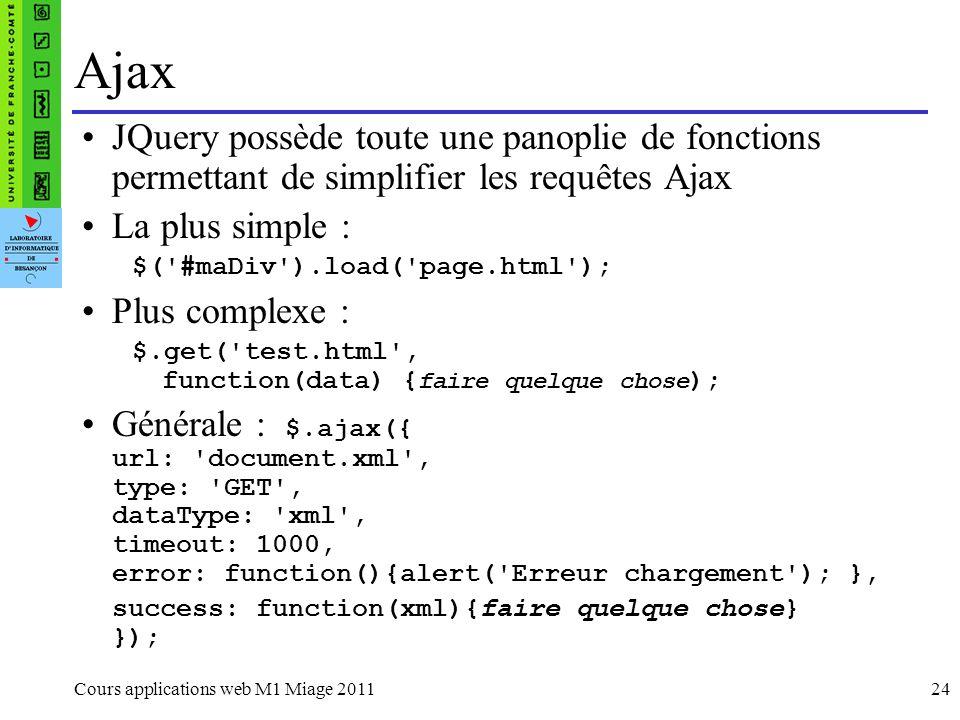 AjaxJQuery possède toute une panoplie de fonctions permettant de simplifier les requêtes Ajax. La plus simple :
