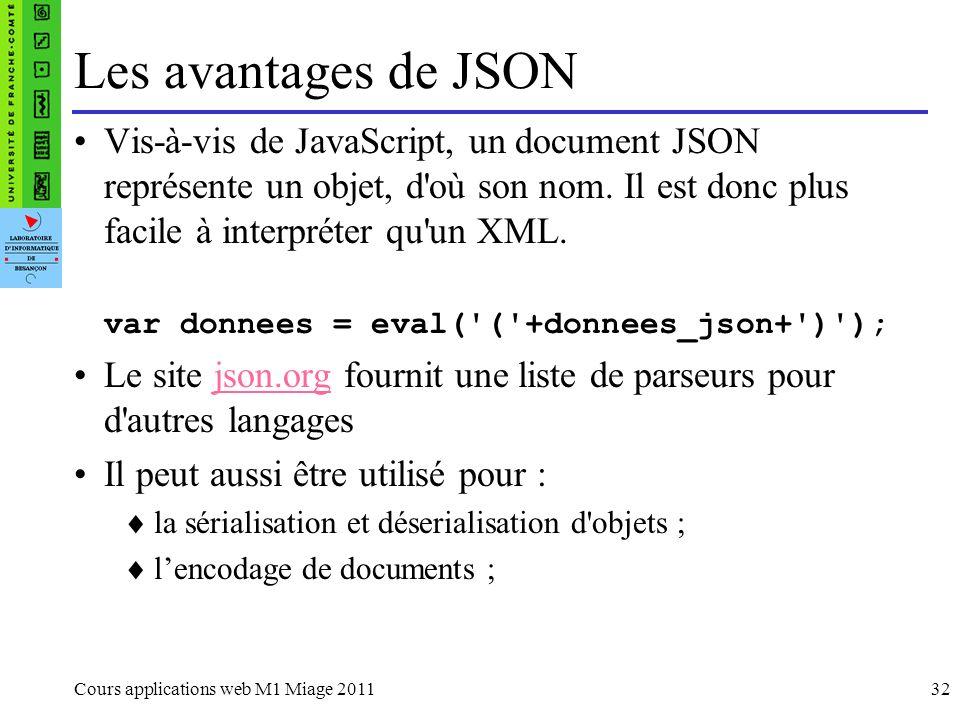 Les avantages de JSONVis-à-vis de JavaScript, un document JSON représente un objet, d où son nom. Il est donc plus facile à interpréter qu un XML.
