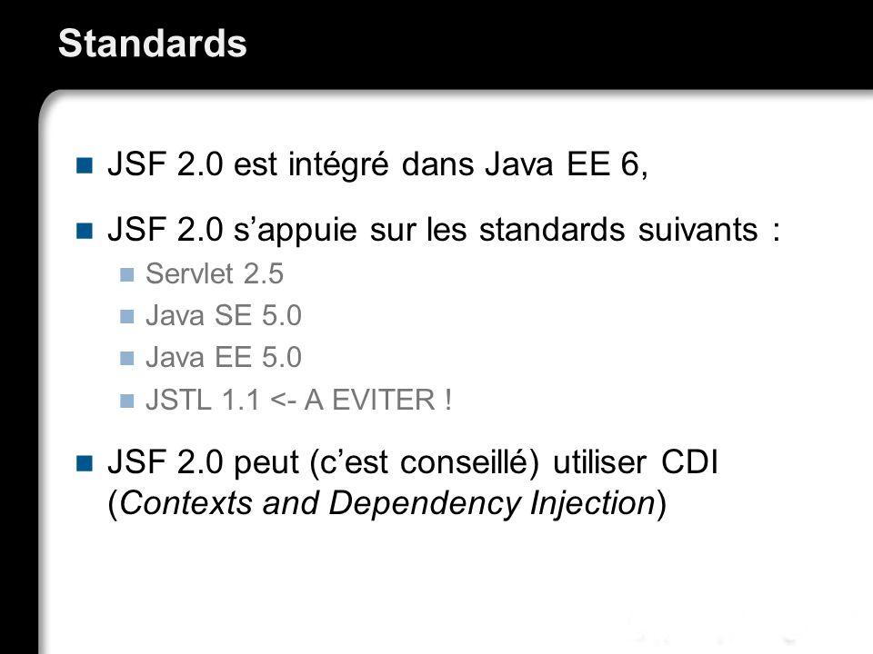Standards JSF 2.0 est intégré dans Java EE 6,
