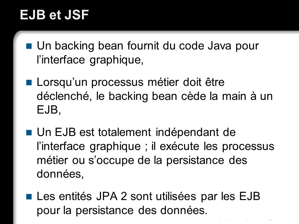 EJB et JSF Un backing bean fournit du code Java pour l'interface graphique,