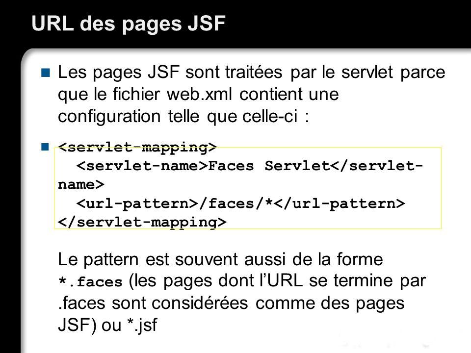 URL des pages JSF Les pages JSF sont traitées par le servlet parce que le fichier web.xml contient une configuration telle que celle-ci :