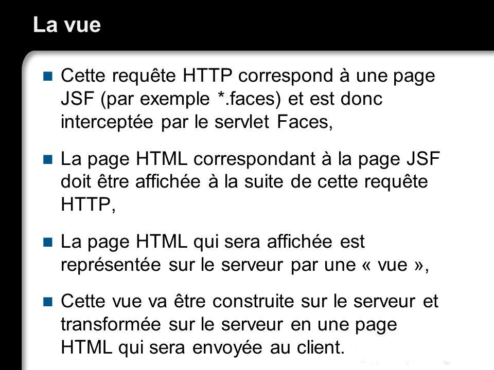 La vue Cette requête HTTP correspond à une page JSF (par exemple *.faces) et est donc interceptée par le servlet Faces,