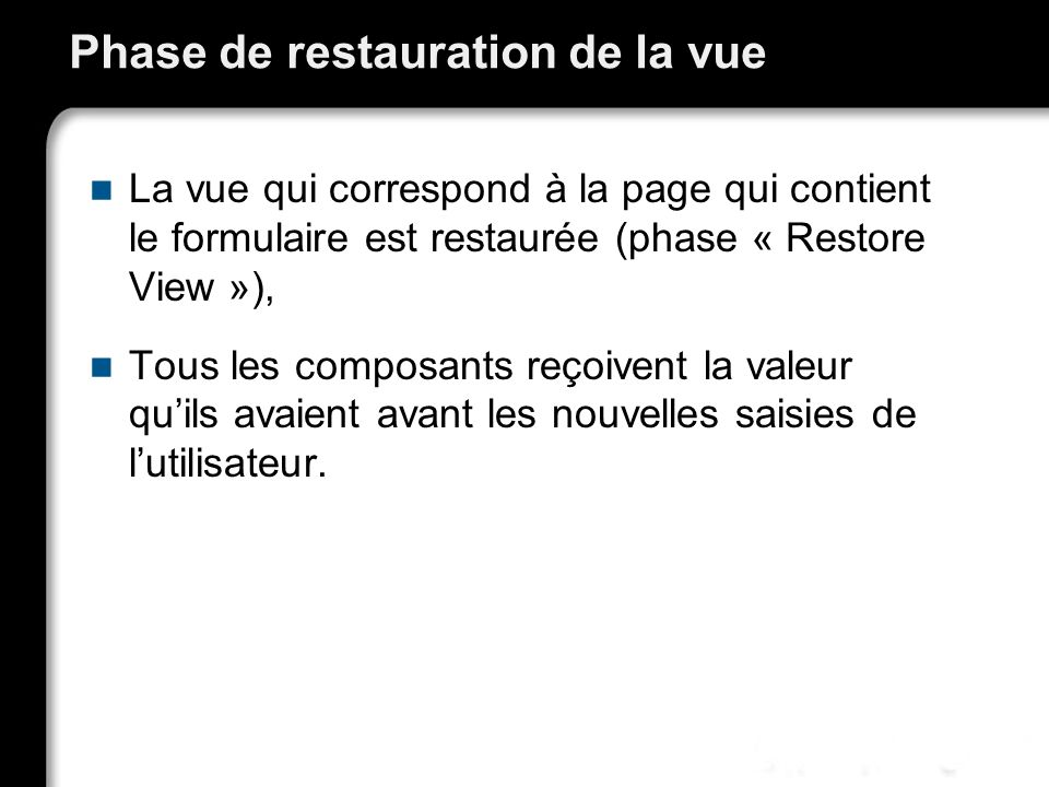 Phase de restauration de la vue