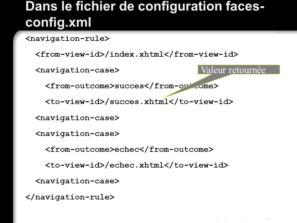 Dans le fichier de configuration faces-config.xml