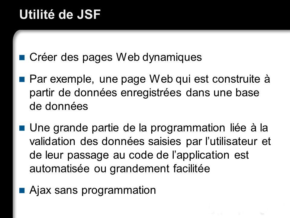 Utilité de JSF Créer des pages Web dynamiques