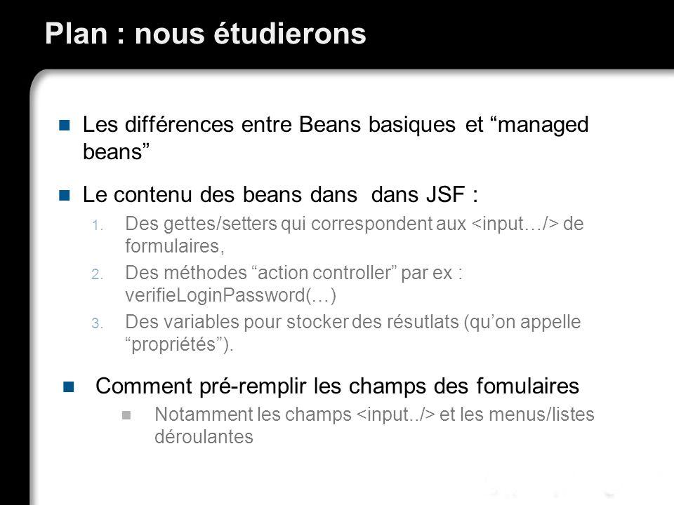 Plan : nous étudierons Les différences entre Beans basiques et managed beans Le contenu des beans dans dans JSF :