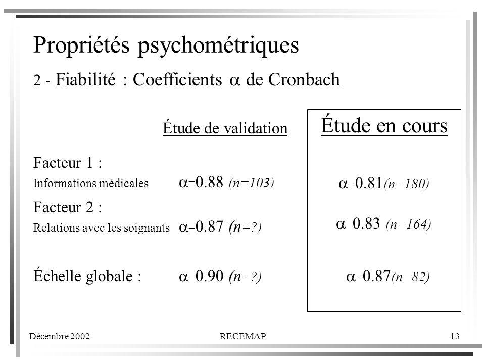 Propriétés psychométriques