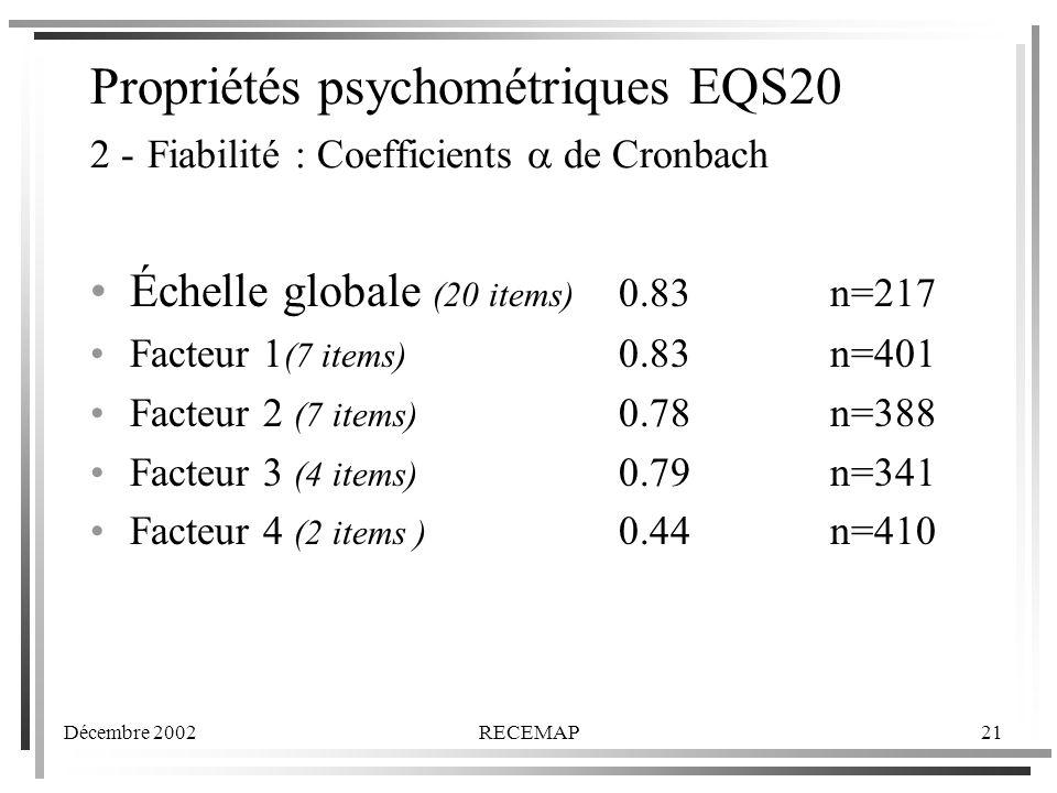 Propriétés psychométriques EQS20 2 - Fiabilité : Coefficients a de Cronbach