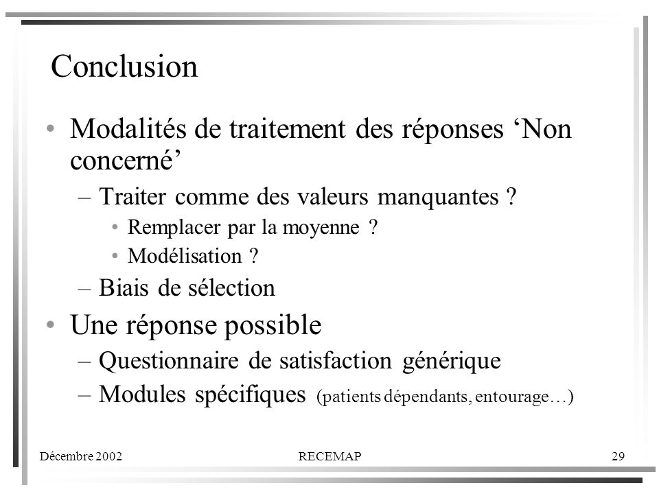 Conclusion Modalités de traitement des réponses 'Non concerné'