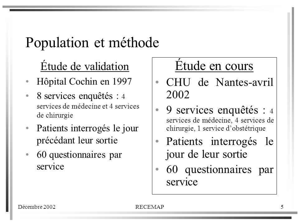 Population et méthode Étude en cours Étude de validation