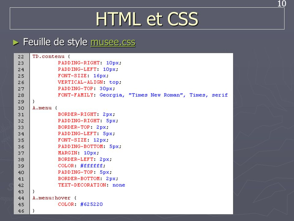HTML et CSS Feuille de style musee.css