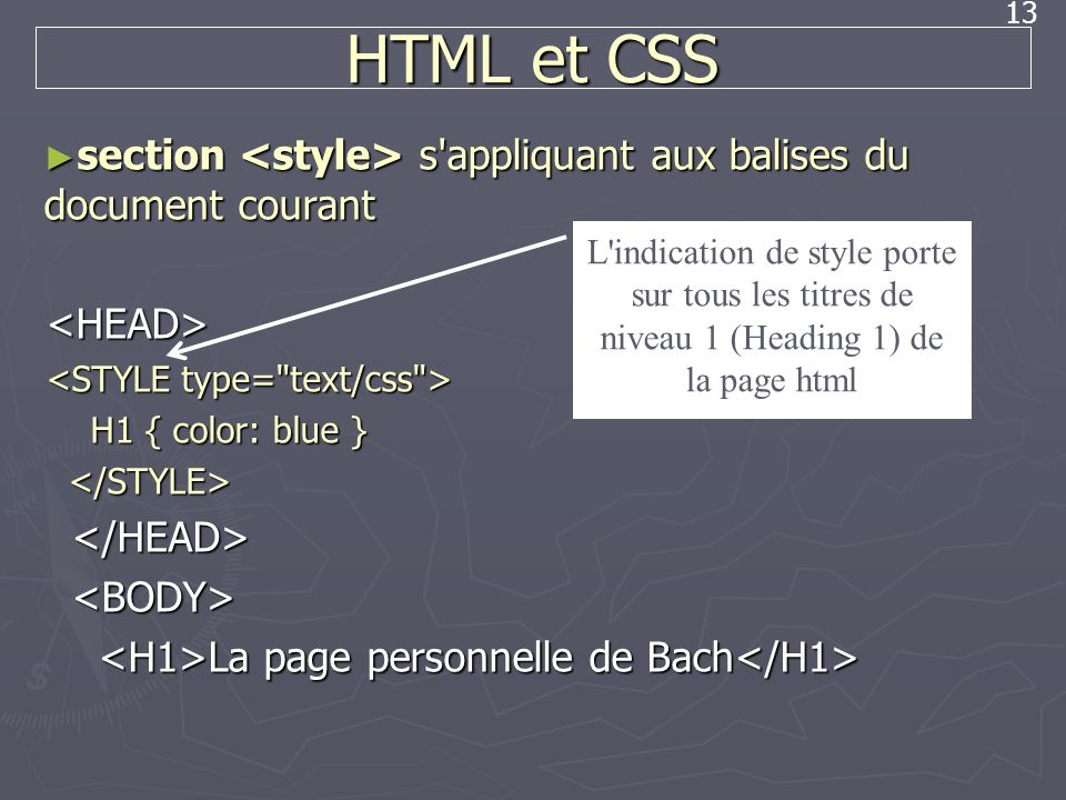 HTML et CSS section <style> s appliquant aux balises du document courant. <HEAD> <STYLE type= text/css >