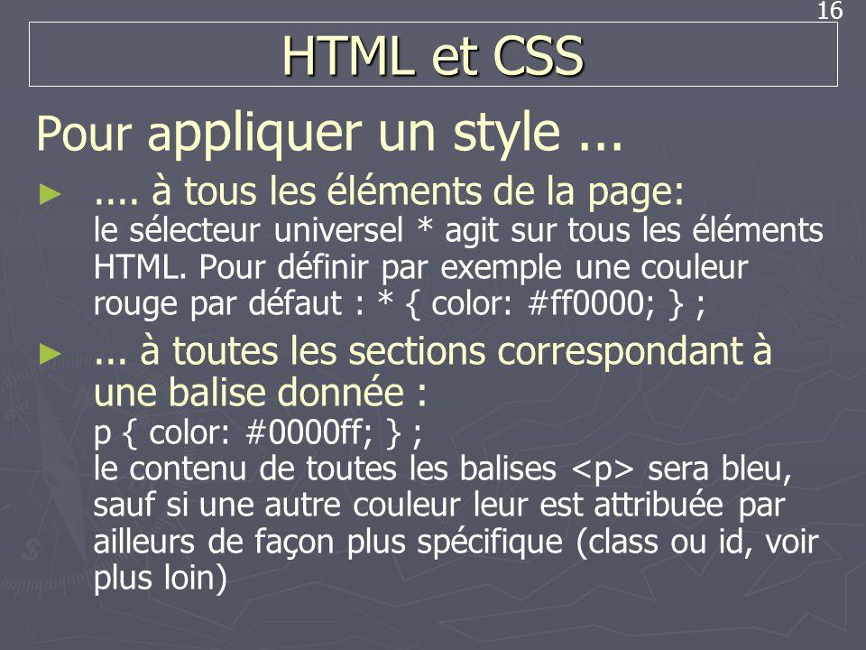HTML et CSS Pour appliquer un style ...