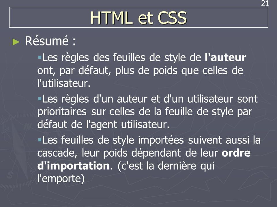 HTML et CSS Résumé : Les règles des feuilles de style de l auteur ont, par défaut, plus de poids que celles de l utilisateur.
