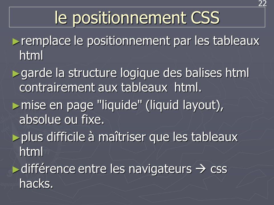 le positionnement CSS remplace le positionnement par les tableaux html
