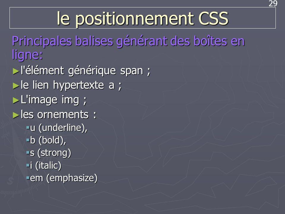 le positionnement CSS Principales balises générant des boîtes en ligne: l élément générique span ;