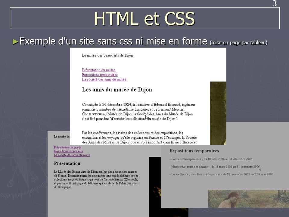 HTML et CSS Exemple d un site sans css ni mise en forme (mise en page par tableau)