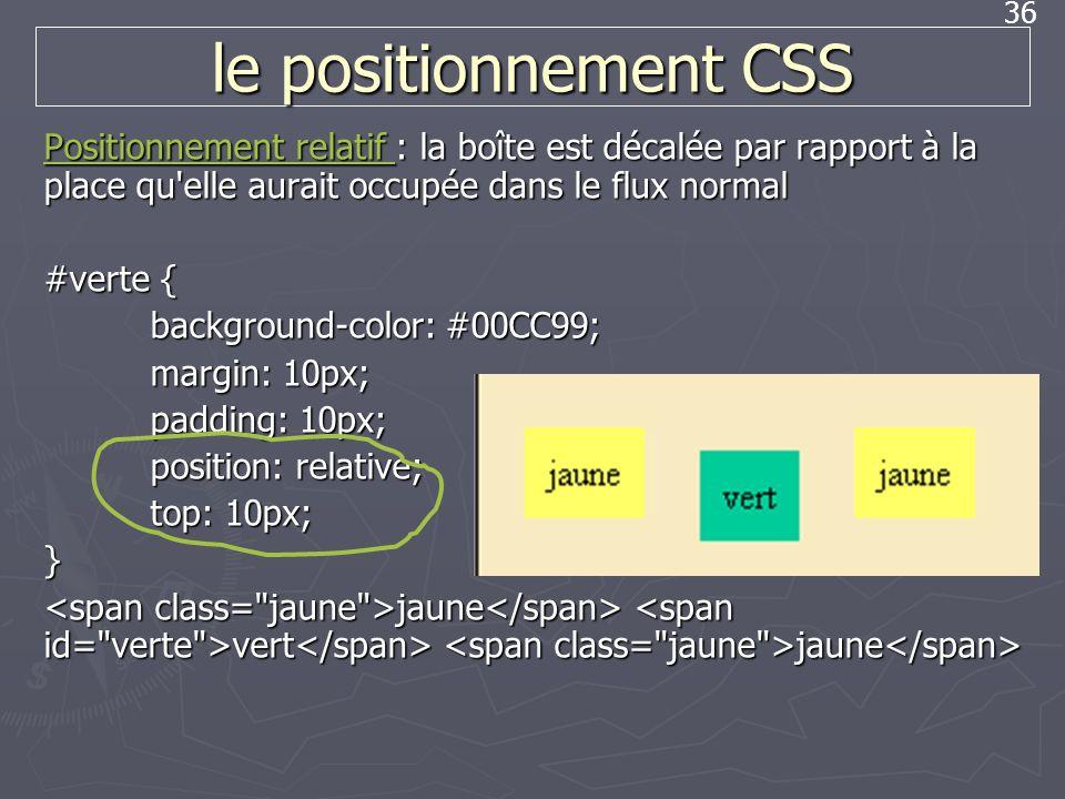 le positionnement CSS Positionnement relatif : la boîte est décalée par rapport à la place qu elle aurait occupée dans le flux normal.