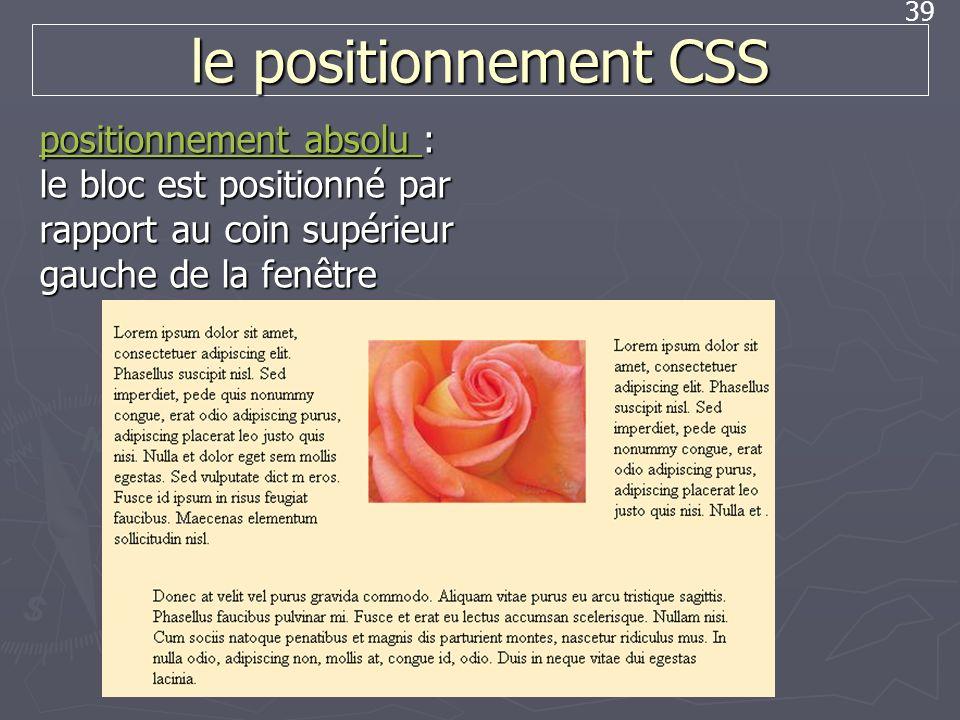 le positionnement CSS positionnement absolu : le bloc est positionné par rapport au coin supérieur gauche de la fenêtre.