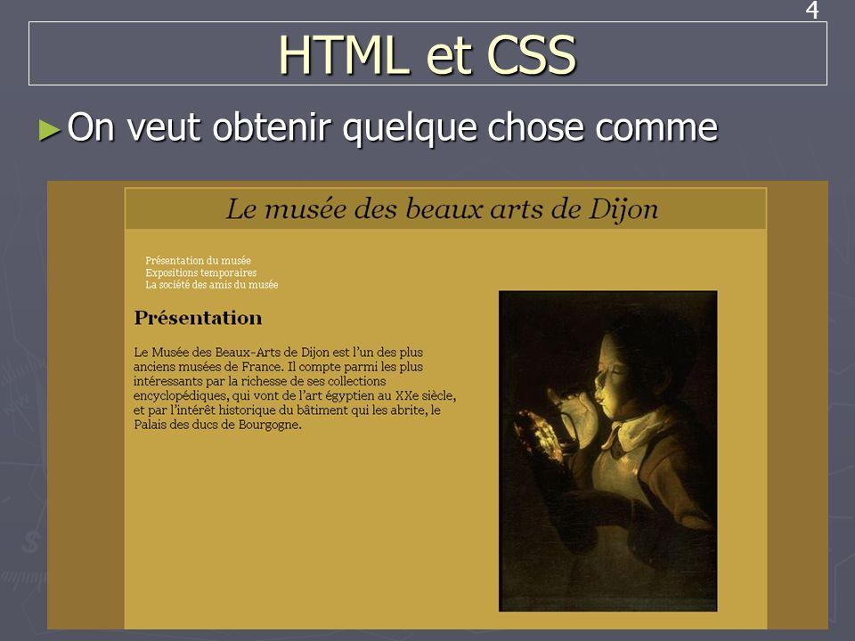 HTML et CSS On veut obtenir quelque chose comme