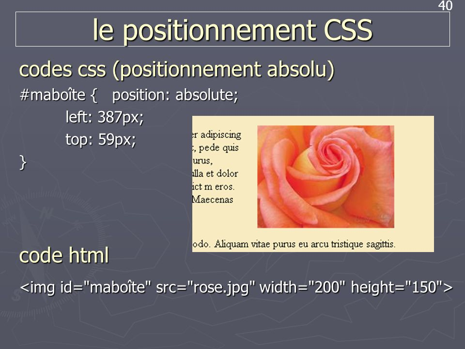 le positionnement CSS codes css (positionnement absolu) code html