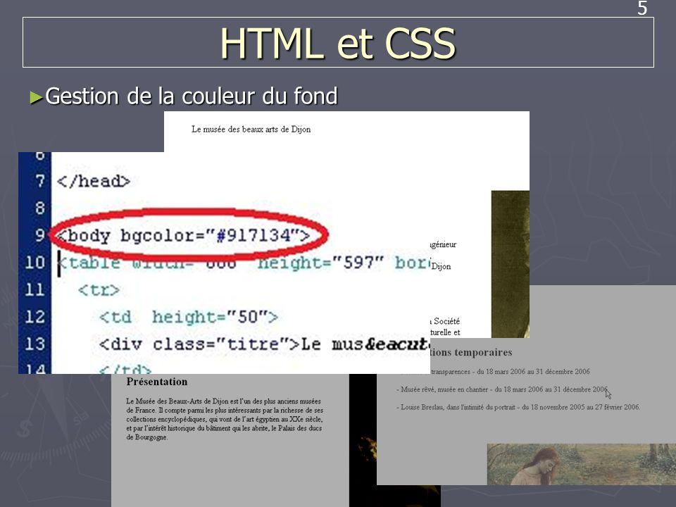 HTML et CSS Gestion de la couleur du fond