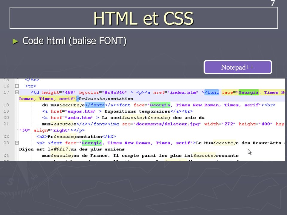 HTML et CSS Code html (balise FONT) Notepad++