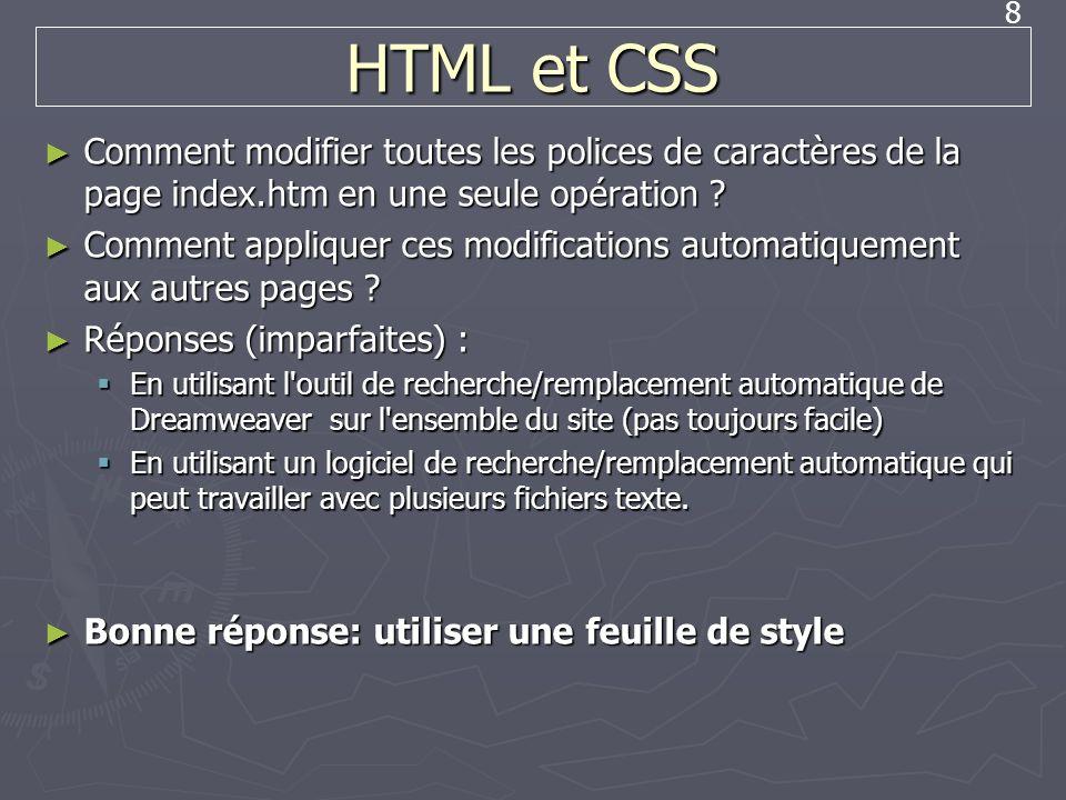 HTML et CSS Comment modifier toutes les polices de caractères de la page index.htm en une seule opération