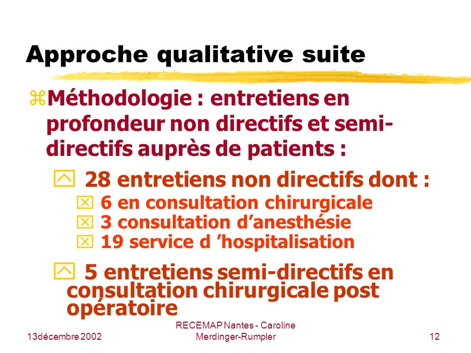 Approche qualitative suite