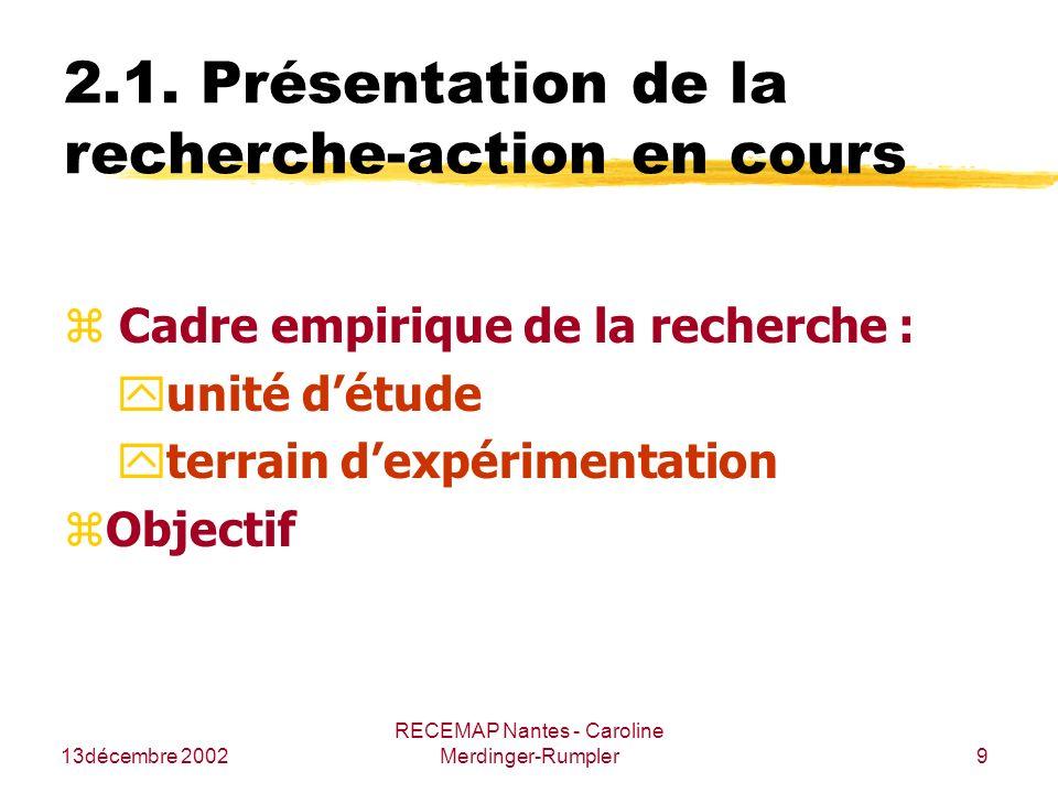 2.1. Présentation de la recherche-action en cours