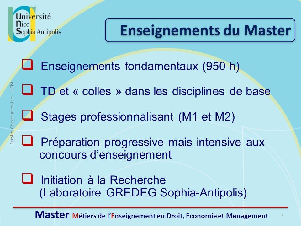 Master Métiers de l'Enseignement en Droit, Economie et Management
