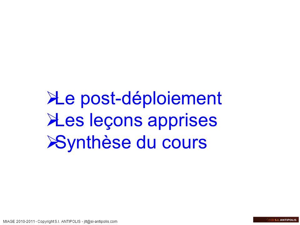 Le post-déploiement Les leçons apprises Synthèse du cours