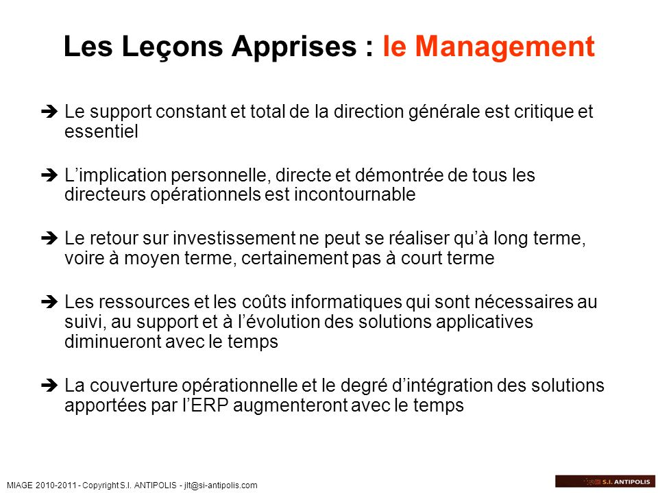 Les Leçons Apprises : le Management