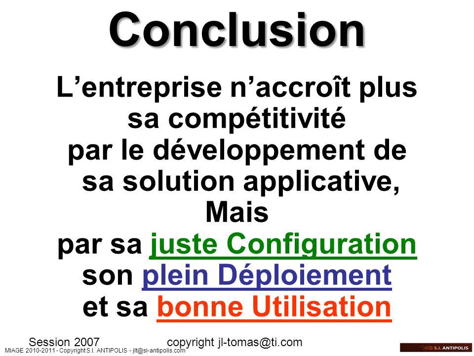 Conclusion L'entreprise n'accroît plus sa compétitivité