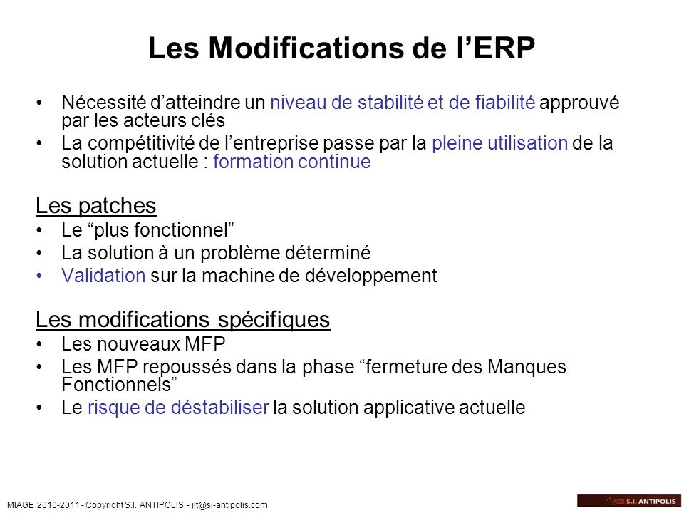 Les Modifications de l'ERP