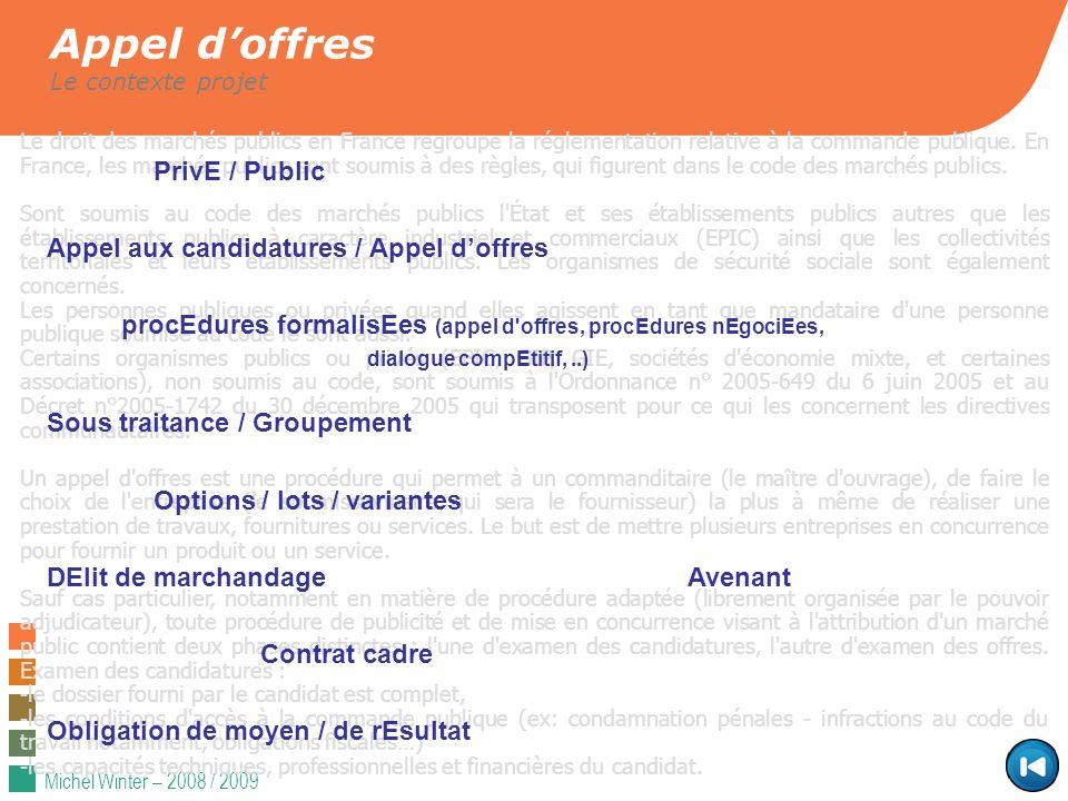 Appel d'offres PrivE / Public Appel aux candidatures / Appel d'offres