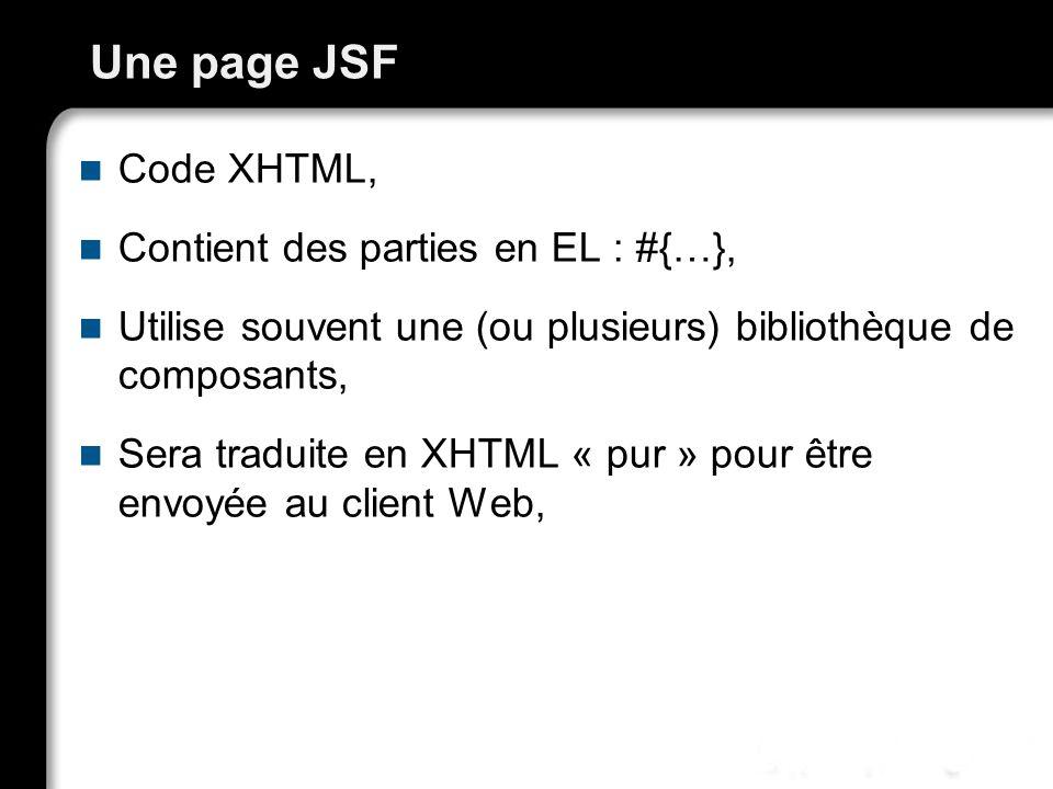 Une page JSF Code XHTML, Contient des parties en EL : #{…},