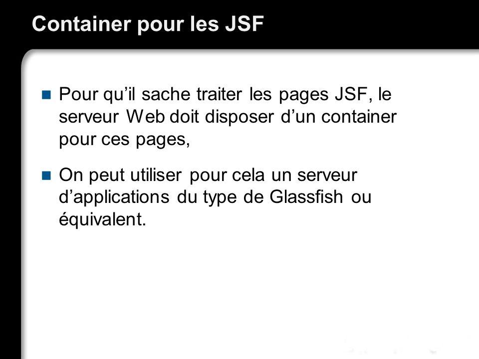 Container pour les JSF Pour qu'il sache traiter les pages JSF, le serveur Web doit disposer d'un container pour ces pages,