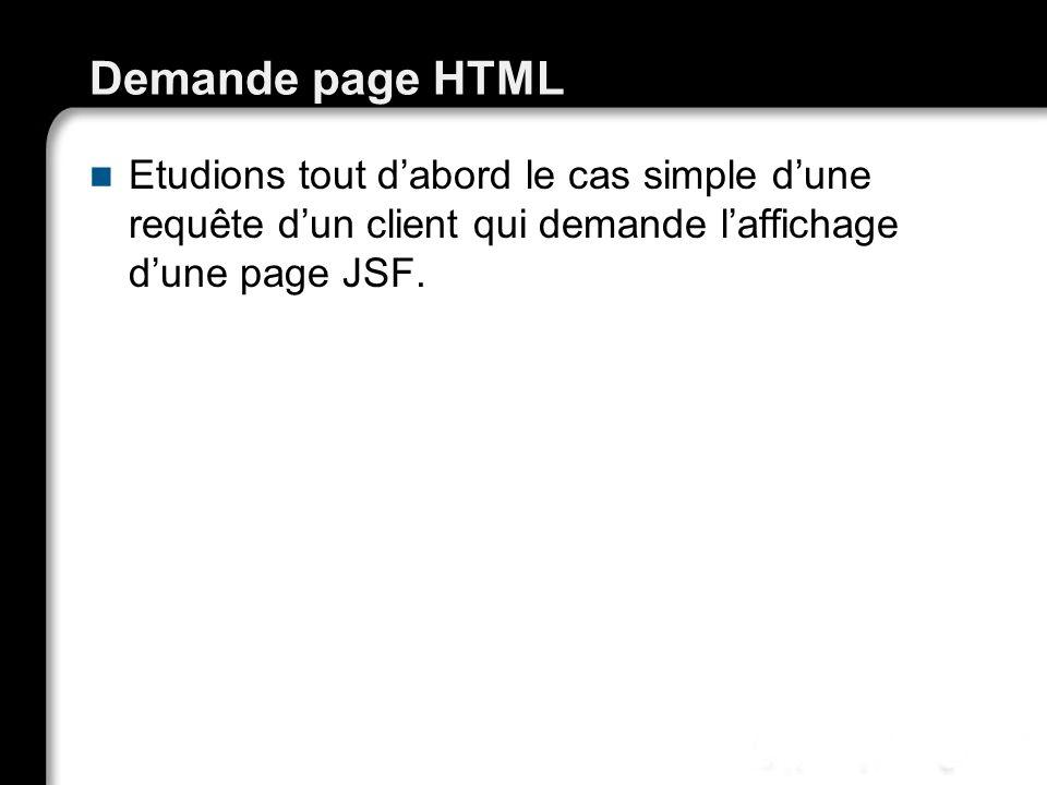 Demande page HTML Etudions tout d'abord le cas simple d'une requête d'un client qui demande l'affichage d'une page JSF.