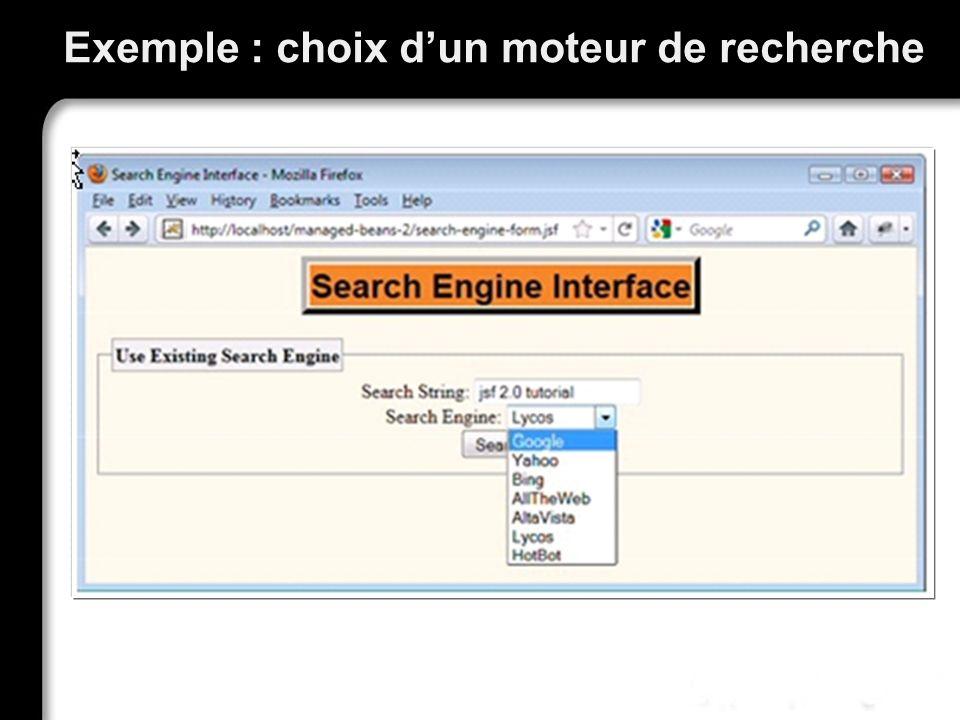 Exemple : choix d'un moteur de recherche