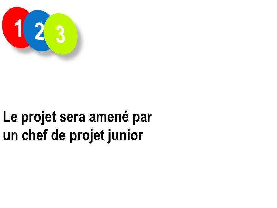 1 2 3 Le projet sera amené par un chef de projet junior