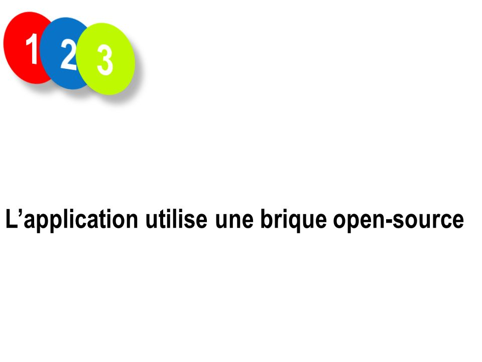 1 2 3 L'application utilise une brique open-source